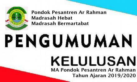 Surat Keputusan Kelulusan MA Pondok Pesantren Ar Rahman