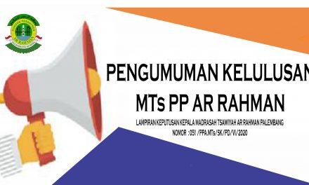 SK Kelulusan MTs PP Ar Rahman Palembang